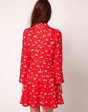 Image 2 ofSonia by Sonia Rykiel 60s Floral Mini Dress in Cotton