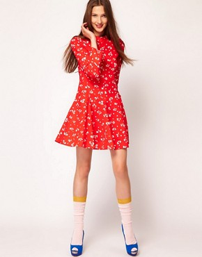 Image 4 ofSonia by Sonia Rykiel 60s Floral Mini Dress in Cotton