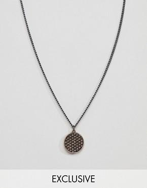 DesignB Circle Necklace In Gunmetal & Rose Gold Exclusive To ASOS