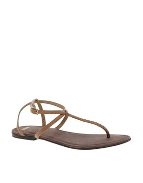 Image 1 ofASOS FRENZY Leather Flat Sandals