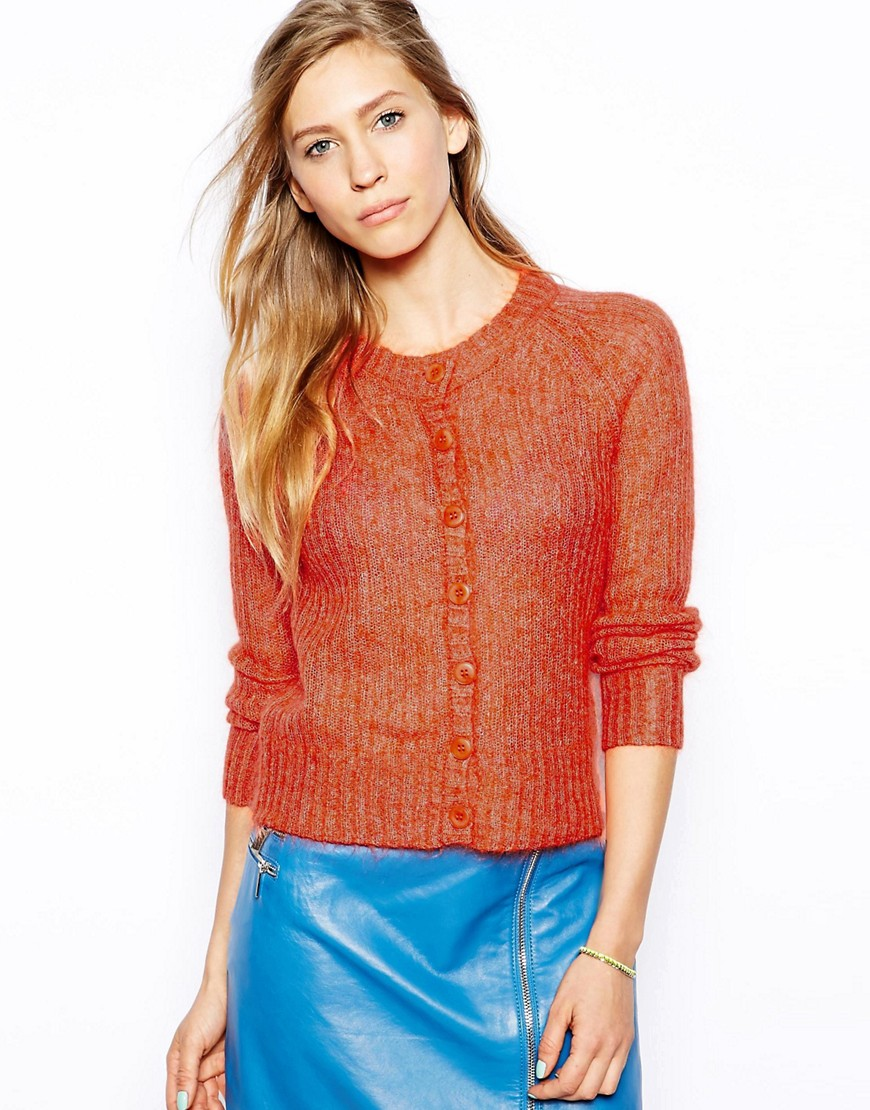 Le Mont St Michel Wool Mix Cardigan With Button Front - Pink