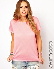 ASOS CURVE Exclusive T-Shirt In Neon Slub