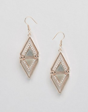 Oasis Shell & Pave Triangle Drop Earrings