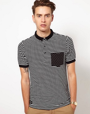 Image 1 of Black Chocoolate Stripe Polo