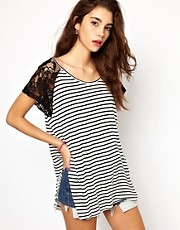 Minkpink Fanciful Stripe T Shirt with Lace Sleeve