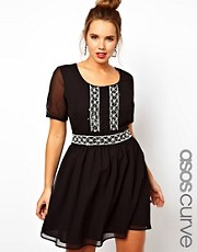 ASOS CURVE Skater Dress With Mono Beaded Waist