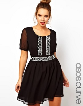 Image 1 ofASOS CURVE Skater Dress With Mono Beaded Waist