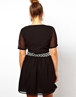 Image 2 ofASOS CURVE Skater Dress With Mono Beaded Waist