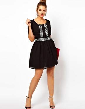 Image 4 ofASOS CURVE Skater Dress With Mono Beaded Waist