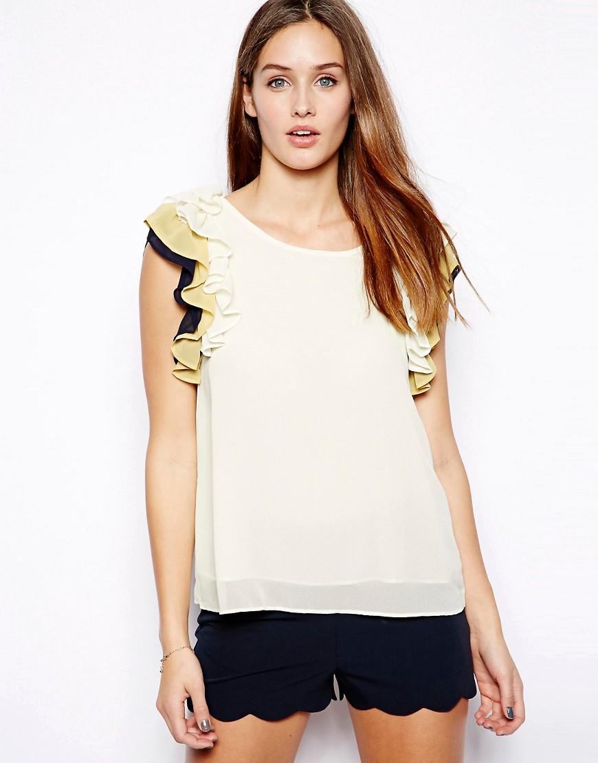 Mina Frill Blouse - White