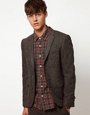 ASOS Slim Fit Suit Jacket in Fleck Herringbone