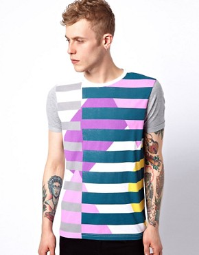 Image 1 ofASOS Stripe T-Shirt With Contrast Sleeves