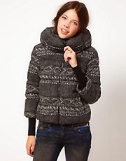 b + ab Padded Jacket With Print Stripe