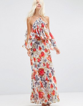 ASOS Beautiful Floral Ruffle Front Cold Shoulder Maxi Dress