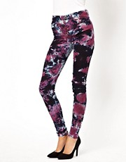 ASOS Ridley Supersoft High Waisted Ultra Skinny Jeans in Pretty Tie Dye