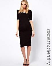 ASOS Maternity Exclusive Bodycon Midi Dress With Half Sleeve