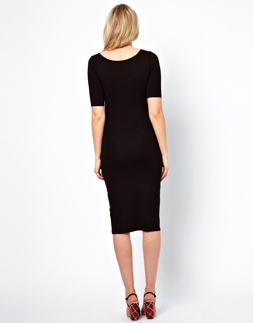 Image 2 ofASOS Maternity Exclusive Bodycon Midi Dress With Half Sleeve