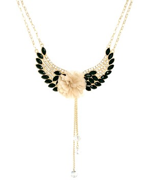 Image 1 ofJohnny Loves Rosie Gem &amp; Diamante Flower Wing Necklace