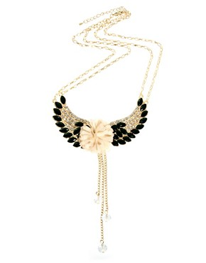 Image 2 ofJohnny Loves Rosie Gem &amp; Diamante Flower Wing Necklace