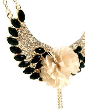 Image 4 ofJohnny Loves Rosie Gem &amp; Diamante Flower Wing Necklace