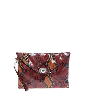 Image 1 ofFrench Connection Envelope Snakeskin Clutch Bag