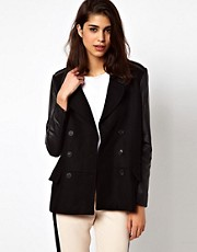 Selected Limone Coat with Leather Trim and Sleeves