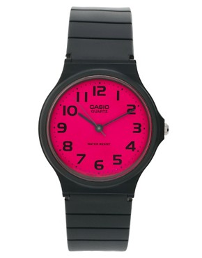 Image 1 of Casio Pink Dial Black Strap Watch