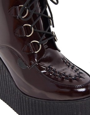 Image 2 ofUnderground Burgundy Patent Wulfrun Double Sole Wedge Boots