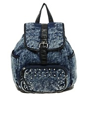 New Look Studded Denim Backpack