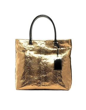 Image 1 ofKM By Karen Millen Metallic Large Tote