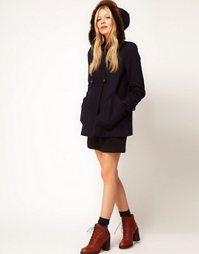 Image 4 ofASOS Hooded A-Line Duffle Coat