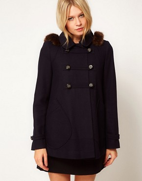 Image 1 ofASOS Hooded A-Line Duffle Coat