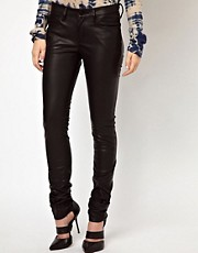 Denham Cleaner Faux Leather Skinny Jeans
