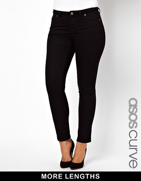 Image 1 ofASOS CURVE Jet Black Skinny Jean