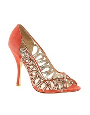 Dune Divine D Coral Suede and Diamante Heeled Shoe