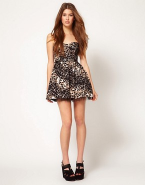 Image 4 ofOh My Love Leopard Tutu Bandeau Skater Dress