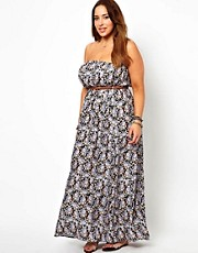 New Look Inspire Printed Maxi Dress Wth Belt
