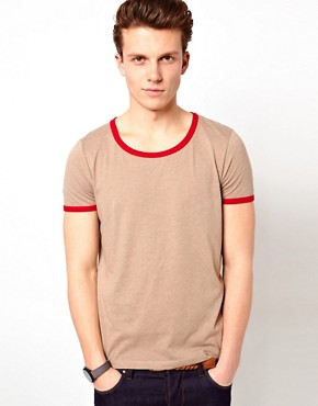 Image 1 ofASOS T-Shirt With Contrast Neck Trim And Cuff