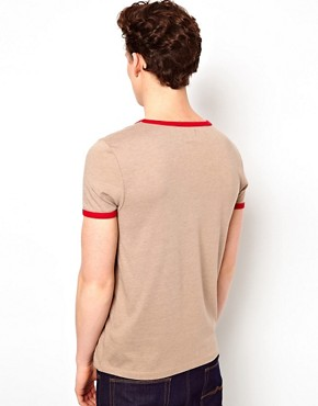 Image 2 ofASOS T-Shirt With Contrast Neck Trim And Cuff