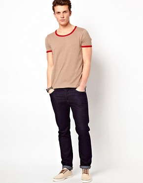 Image 4 ofASOS T-Shirt With Contrast Neck Trim And Cuff