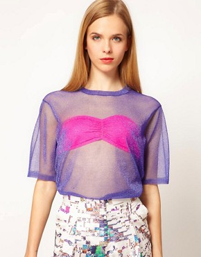 Image 1 ofASOS White Lurex Shell Top
