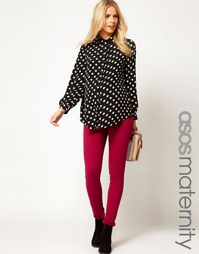 Image 1 ofASOS Maternity Exclusive Skinny Jean In Wine