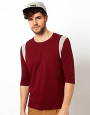 ASOS 3/4 Sleeve T-Shirt With Cut And Sew Insert