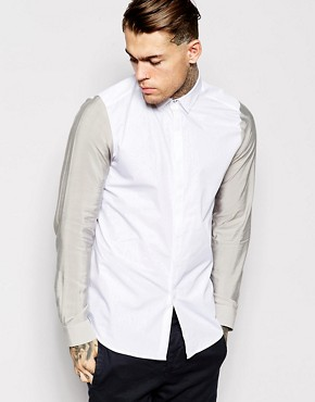 ASOS Shirt In Long Sleeve With Colour Block