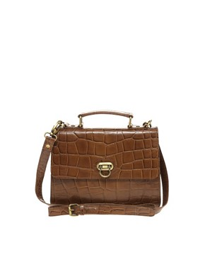 Image 1 ofASOS Leather Croc Lock Across Body Bag