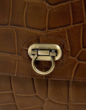 Image 2 ofASOS Leather Croc Lock Across Body Bag