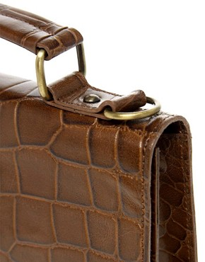 Image 4 ofASOS Leather Croc Lock Across Body Bag