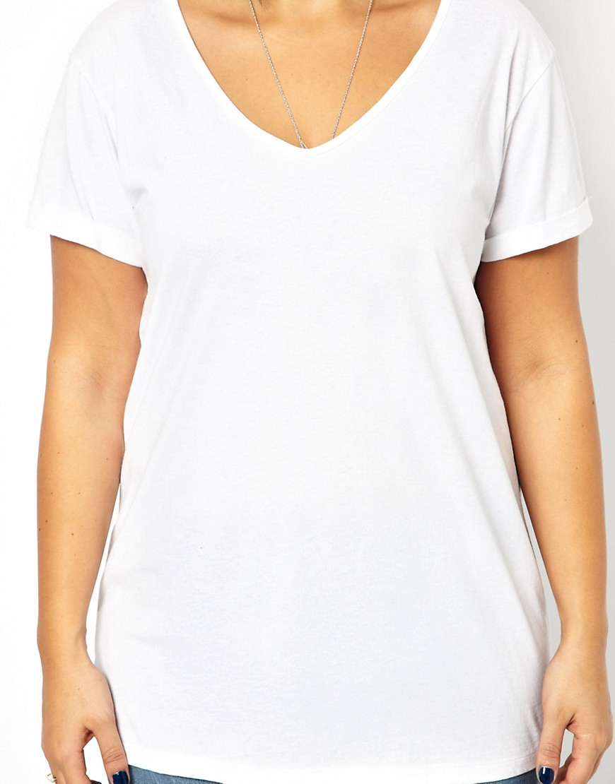Image 2 of ASOS CURVE T-Shirt With V-Neck