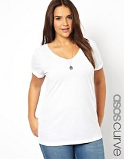 ASOS Curve - T-shirt con scollo a V