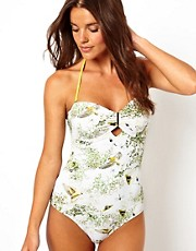 Ted Baker Dancing Leave Print Swimsuit